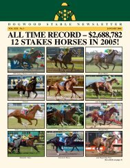 ALL TIME RECORD – $2,688,782 12 STAKES ... - Dogwood Stable