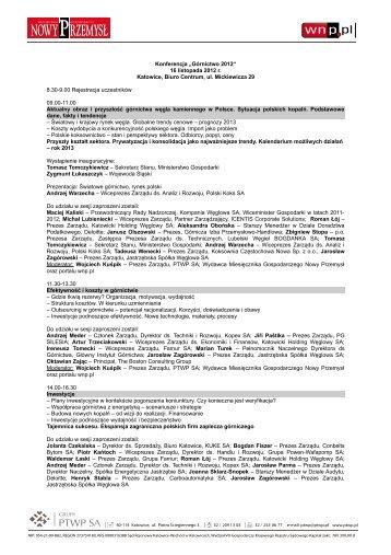 """Konferencja """"Górnictwo 2012"""" 16 listopada 2012 r ... - p.wnp.pl"""