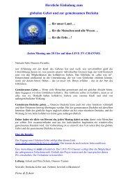 Herzliche Einladung zum globalen Gebet und zur ... - Oneness 24