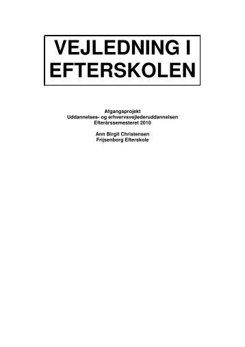 VEJLEDNING I EFTERSKOLEN - Videncenter for uddannelses- og ...