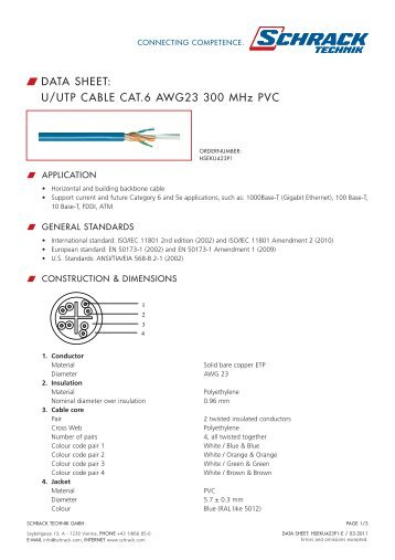 W DATA SHEET: U/UTP CABLE CAT.6 AWG23 300 MHz ... - Schrack