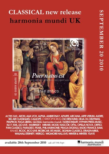 CLASSICAL new release harmonia mundi UK