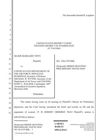 Proposed Order Granting Preliminary Injunction - The DADT Digital ...