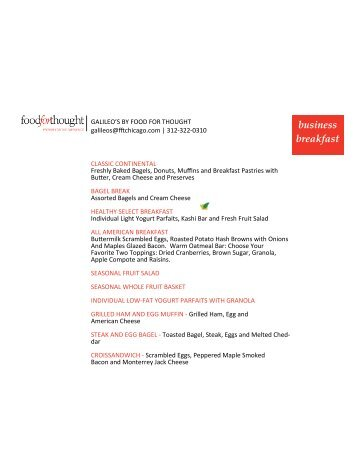 to download the menu - Food For Thought