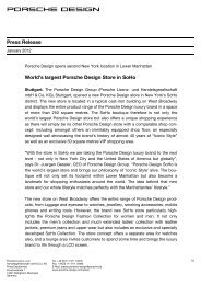 Press Release World's largest Porsche Design Store in SoHo