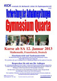 Kurse ab SA 12. Januar 2013 - Kick Lernstudio