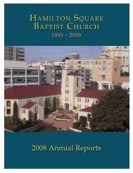 2008 Annual Reports - Hamilton Square Baptist Church