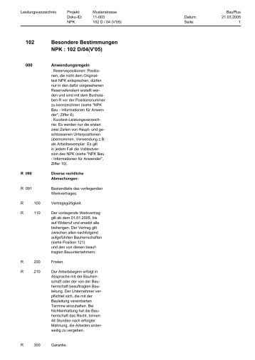 Besondere Bestimmungen NPK : 102 D/04(V'05) 102