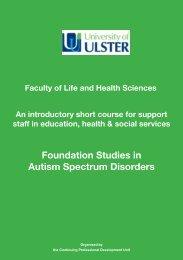 Foundation Studies in Autism Spectrum Disorders - University of Ulster