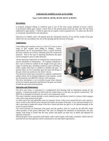 Cedamatic sliding gate actuators - CMS