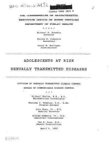 ADOLESCENTS AT RISK SEXUALLY TRANSMITTED DISEASES