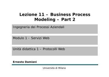 Lezione 11 – Business Process Modeling – Part 2