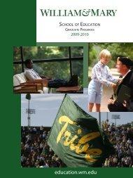 Graduate Catalog 2009-2010 - School of Education - College of ...