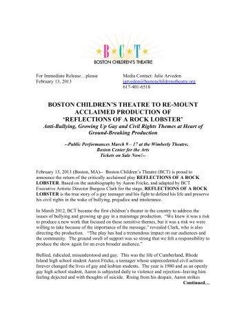 Rock Lobster 2013 Press Release Print - Boston Children's Theatre