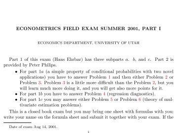 ECONOMETRICS FIELD EXAM SUMMER 2001 ... - University of Utah