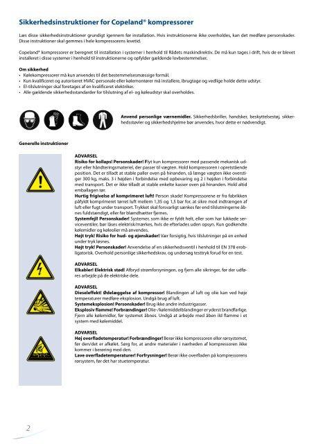 Monteringsinstruktioner for - Emerson Climate Technologies