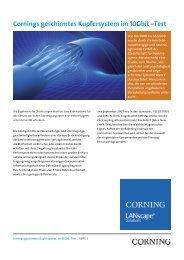 Cornings geschirmtes Kupfersystem im 10Gbit –Test