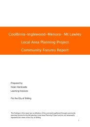 Mt Lawley Local Area Planning Project Community Forums Report