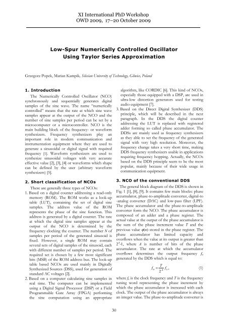 Low-Spur Numerically Controlled Oscillator Using Taylor