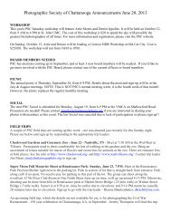 Photographic Society of Chattanooga Announcements June 20, 2013