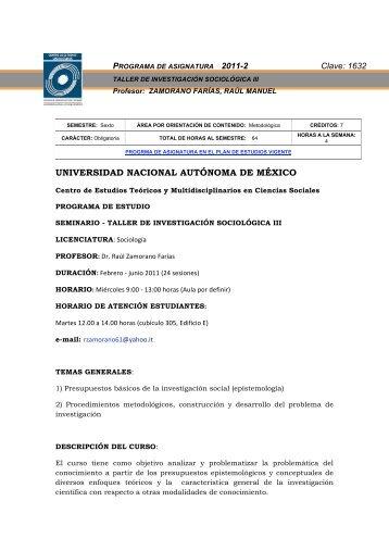 taller de investigación sociológica iii - Centro de Estudios ...