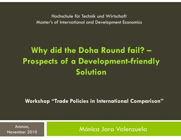 Why did the Doha Round fail? - DAAD partnership on economic ...