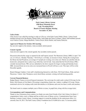 November 2012 Board Meeting Minutes - Park County Library System