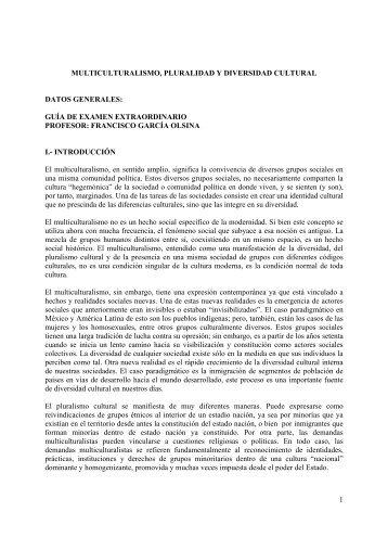 multicult, pluralidad y divers cultur - Centro de Estudios Sociológicos ...