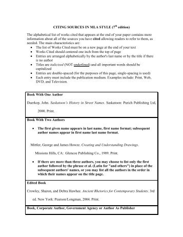 CITING SOURCES IN MLA STYLE (7 edition) The alphabetical list of ...