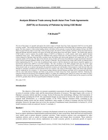 Analysis Bilateral Trade among South Asian Free Trade Agreements ...