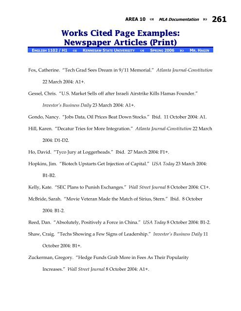 works cited page examples newspaper articles ksuweb