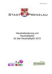Haushaltssatzung und Haushaltsplan für das Haushaltsjahr 2012