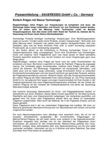 Pressemitteilung – SAUERESSIG GmbH + Co. - Germany