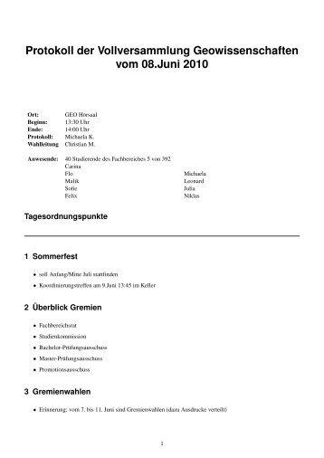 Protokoll der VV vom 08.06.2010 (PDF) - StugA Geowissenschaften ...