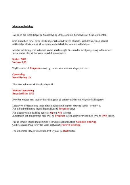 MANUAL FOR DTC 9002 Styringen : - Fyrteknik