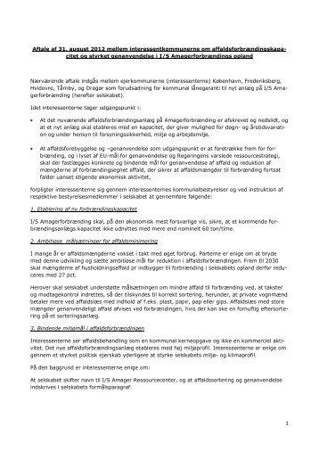 Aftale af 31. august 2012 mellem interessentkommunerne om ...