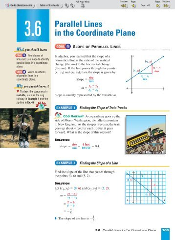3-6 Parallel Lines in the Coordinate Plane - Nexuslearning.net