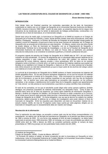 las tesis de licenciatura en el colegio de geografía de la unam