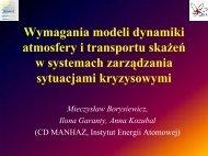 Wymagania modeli dynamiki atmosfery i transportu skażeń w ...
