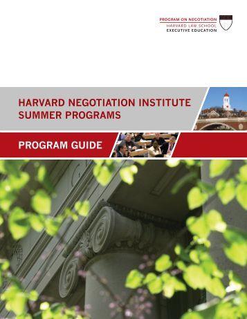 program guide harvard negotiation institute summer programs