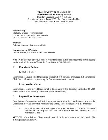 12-09-2010 Rule Meeting Minutes - Utah State Tax Commission