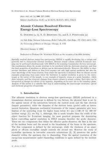 Atomic Column Resolved Electron Energy-Loss Spectroscopy