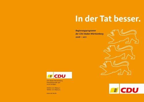 Regierungsprogramm Cdu Baden Württemberg