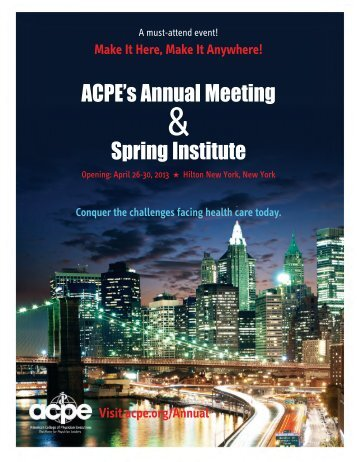 ACPE's Annual Meeting Spring Institute - American College of ...