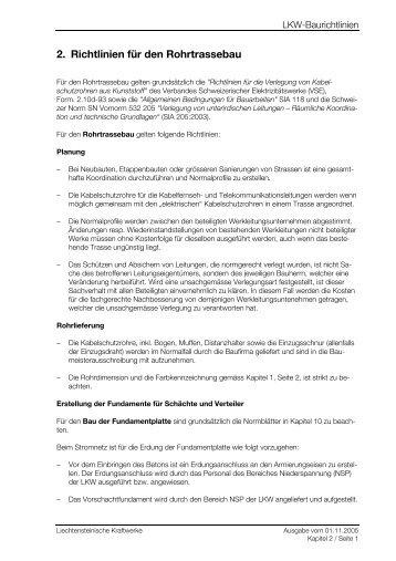 2. Richtlinien für den Rohrtrassebau
