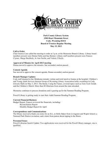 May 2013 Board Meeting Minutes - Park County Library System