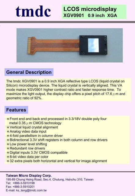 tmdc LCOS microdisplay