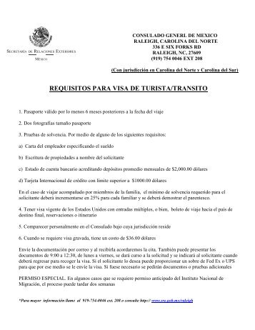 requisitos para visa de turista/transito - Secretaría de Relaciones ...