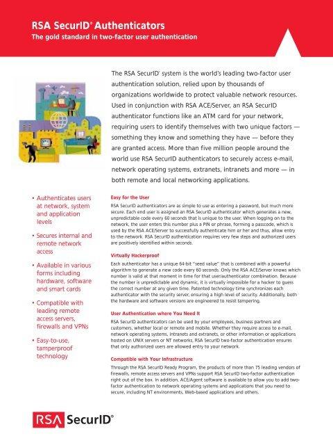 RSA SecurID® Authenticators - VB