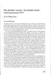 The Beatles' musik· En kritisk studie - dansk musikforskning online